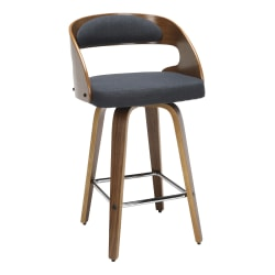"""OFM 161 Collection Mid-Century Modern Low-Back Stool, 32""""H, Navy/Walnut"""