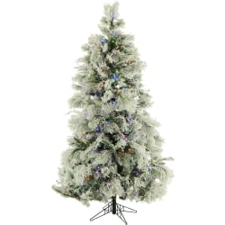 Fraser Hill Farm Flocked Snowy Pine Christmas Tree, 10', With Smart String Lighting