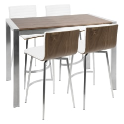 Lumisource Mason Contemporary Counter Table With 4 Counter Stools, Stainless Steel/Walnut/White