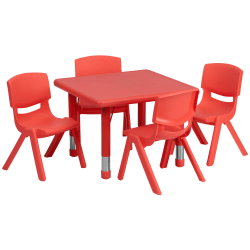 Flash Furniture 24'' Square Plastic Height-Adjustable Activity Tables With 4 Chairs, Red