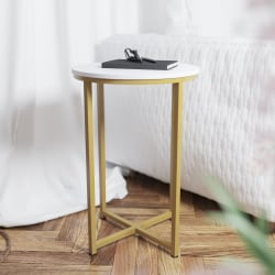 "Flash Furniture End Table, 24""H x 15-3/4""W x 15-3/4""D, White/Gold"