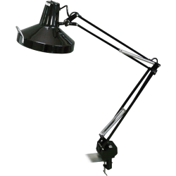 Lorell® Dual Bulb Magnifying Architect-style Clamp Lamp, Black