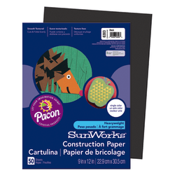 "SunWorks® Construction Paper, 9"" x 12"", Black, Pack Of 50"