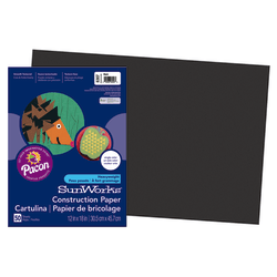 "SunWorks® Construction Paper, 12"" x 18"", Black, Pack Of 50"
