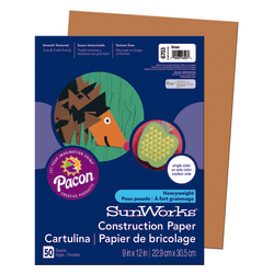 "SunWorks® Construction Paper, 9"" x 12"", Brown, Pack Of 50"