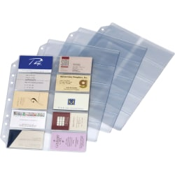 """Cardinal EasyOpen Card File Binder Refill Pages - 12"""" Height x 0.1"""" Width x 9.5"""" Length - 10 x Page, 200 x Card Capacity - For Letter 8 1/2"""" x 11"""" Sheet - Ring Binder - Rectangular - Clear - Polypropylene - 10 / Pack"""