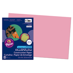"SunWorks® Construction Paper, 12"" x 18"", Pink, Pack Of 50"