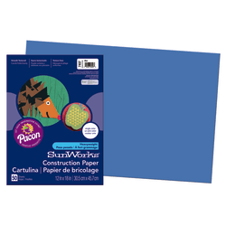 "SunWorks® Construction Paper, 12"" x 18"", Blue, Pack Of 50"