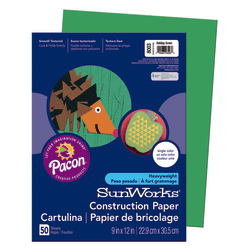 """SunWorks® Construction Paper, 9"""" x 12"""", Holiday Green, Pack Of 50"""