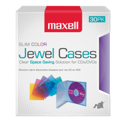 Maxell® Slim Jewel Cases, Assorted Colors, Pack Of 30