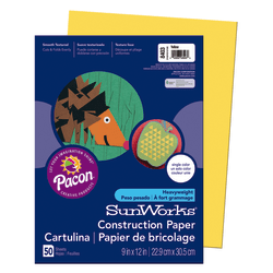 """SunWorks® Construction Paper, 9"""" x 12"""", Yellow, Pack Of 50"""