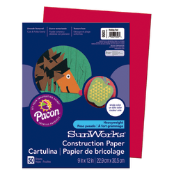 """SunWorks® Construction Paper, 9"""" x 12"""", Holiday Red, Pack Of 50"""