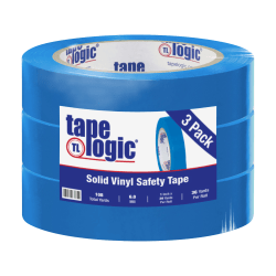 "BOX Packaging Solid Vinyl Safety Tape, 3"" Core, 1"" x 36 Yd., Blue, Case Of 3"