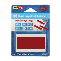 """Redi-Tag Half-adhesive Small Page Flags - 0.19"""" x 1"""" - Rectangle - Red - Removable, Self-adhesive - 300 / Pack"""