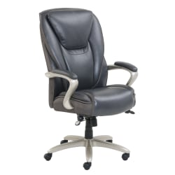 Serta® Smart Layers™ Hensley Big And Tall Bonded Leather High-Back Chair, Dark Gray/Silver