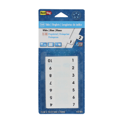 Redi-Tag® Permanent Index Tabs, 1-10, White, 8 Sets (24 Blank), Pack Of 104 Tabs