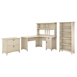 """Bush Furniture Salinas 60""""W L Shaped Desk with Hutch, Lateral File Cabinet and 5 Shelf Bookcase, Antique White, Standard Delivery"""
