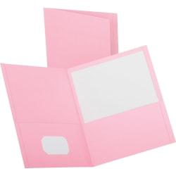 "Oxford™ Twin-Pocket Portfolios, 8 1/2"" x 11"", Pink, Pack Of 25"