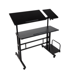 "Mind Reader 39""W Mobile Sitting/Standing Desk, Black"