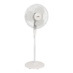 """Lorell® 16"""" 3-Speed Oscillating Floor Fan With Remote, White"""