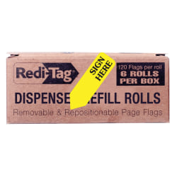 "Redi-Tag Sign Here Arrow Flags Dispenser Refills - 720 x Yellow - 1.88"" x 0.56"" - ""SIGN HERE"" - Yellow - Removable, Self-adhesive - 6 / Box"