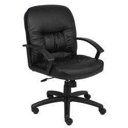Boss Office Products Overstuffed Ergonomic Vinyl Mid-Back Chair, Black