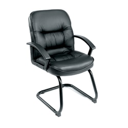 Boss Office Products Overstuffed Bonded LeatherPlus™ Guest Chair, Black