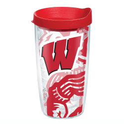 Tervis Genuine NCAA Tumbler With Lid, Wisconsin Badgers, 16 Oz, Clear