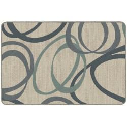 Flagship Carpets Printed Rug, Duo, 4'H x 6'W, Natural Blue