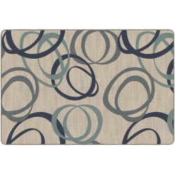 Flagship Carpets Printed Rug, Duo, 6'H x 9'W, Natural Blue