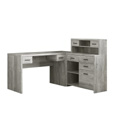 Monarch Specialties L-Shaped Computer Desk With Hutch, Gray Woodgrain