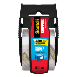 "Scotch® Heavy Duty Shipping Packing Tape, 1 7/8"" x 800"", Black"
