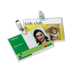 """Fellowes Glossy Pouches - ID Tag punched with clip, 5 mil, 25 pk - Laminating Pouch/Sheet Size: 3.88"""" Width x 5 mil Thickness - Glossy - for ID Badge - Durable, Easy to Use - Clear - 25 / Pack"""