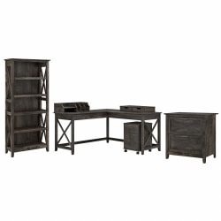 """Bush Furniture Key West 60""""W L-Shaped Desk With File Cabinets, Bookcase And Desktop Organizers, Dark Gray Hickory, Standard Delivery"""