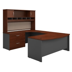 """Bush Business Furniture Components 72""""W Left-Handed Bow-Front U-Shaped Desk With Hutch And Storage, Hansen Cherry/Graphite Gray, Premium Installation"""