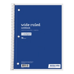 "Just Basics® Spiral Notebook, 7-1/2"" x 10-1/2"", Wide Ruled, 140 Pages (70 Sheets), Blue"