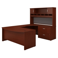 "Bush Business Furniture Components 72""W Right-Handed Bow-Front U-Shaped Desk With Hutch And Storage, Mahogany, Premium Installation"