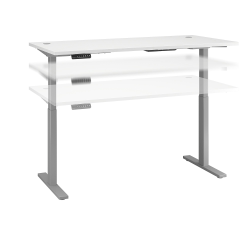 """Bush Business Furniture Move 60 Series 72""""W x 30""""D Height Adjustable Standing Desk, White/Cool Gray Metallic, Standard Delivery"""