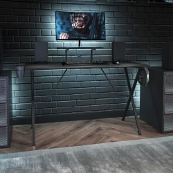 """Flash Furniture 52""""W Gaming Desk With Cup Holder, Headphone Hook And Monitor/Smartphone Stand, Black"""