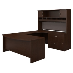 "Bush Business Furniture Components 72""W Right-Handed Bow-Front U-Shaped Desk With Hutch And Storage, Mocha Cherry, Premium Installation"
