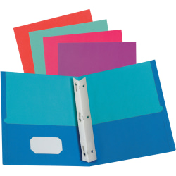 """Oxford Twisted Twin Portfolios with Fasteners - Letter - 8 1/2"""" x 11"""" Sheet Size - 100 Sheet Capacity - 2 Pocket(s) - Assorted - Recycled - 50 / Box"""