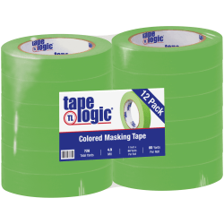 "Tape Logic® Color Masking Tape, 3"" Core, 1"" x 180', Light Green, Case Of 12"