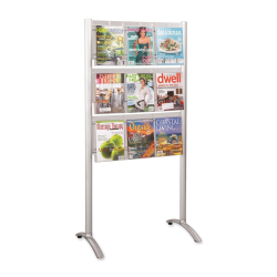 """Safco 9-Pocket Magazine Floor Stand - 9 x Magazine, 18 x Pamphlet - 9 Drawer(s) - 62.8"""" Height x 31.8"""" Width x 20"""" Depth - Floor - Silver - Acrylic, Aluminum - 1 / Each"""