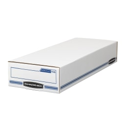 """Bankers Box® Stor/File™ Check/Deposit Slip Storage Box With Flip-Top Closure, 24"""" x 9"""" x 4"""", 60% Recycled, White/Blue"""