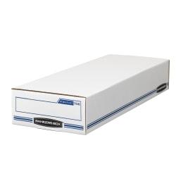 "Bankers Box® Stor/File™ Check/Deposit Slip Storage Box, Flip-Top Closure, 24"" x 9"" x 4"", 60% Recycled, White/Blue"
