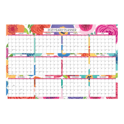 """Blue Sky™ Mahalo Laminated Regular/Academic Monthly Wall Calendar, 36"""" x 24"""", Multicolor, January to December 2021/July 2020 to June 2021, 108253-A"""