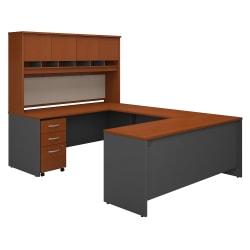 "Bush Business Furniture Components 72""W U-Shaped Desk With Hutch And Storage, Auburn Maple/Graphite Gray, Premium Installation"