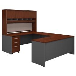 "Bush Business Furniture Components 72""W U-Shaped Desk With Hutch And Storage, Hansen Cherry/Graphite Gray, Premium Installation"