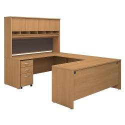 "Bush Business Furniture Components 72""W U-Shaped Desk With Hutch And Storage, Light Oak, Premium Installation"
