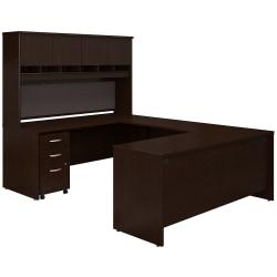 "Bush Business Furniture Components 72""W U-Shaped Desk With Hutch And Storage, Mocha Cherry, Premium Installation"